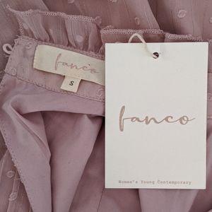 Fanco Tops - Fanco Swiss Dot High Neck Ruffle Blouse